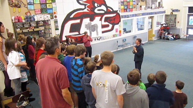 Corbett Middle School Students singing traditional irish song gaeilge image
